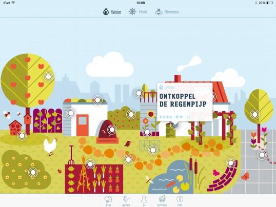 """openings scherm van de App """"Huisje Boompje Beter""""."""